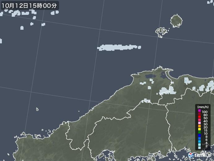 島根県の雨雲レーダー(2020年10月12日)