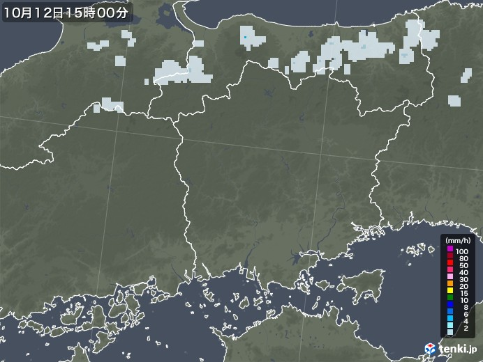 岡山県の雨雲レーダー(2020年10月12日)