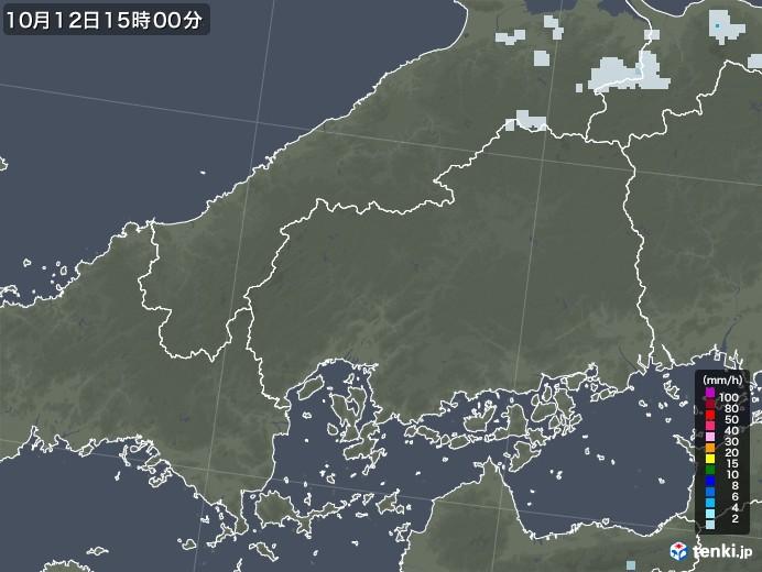 広島県の雨雲レーダー(2020年10月12日)