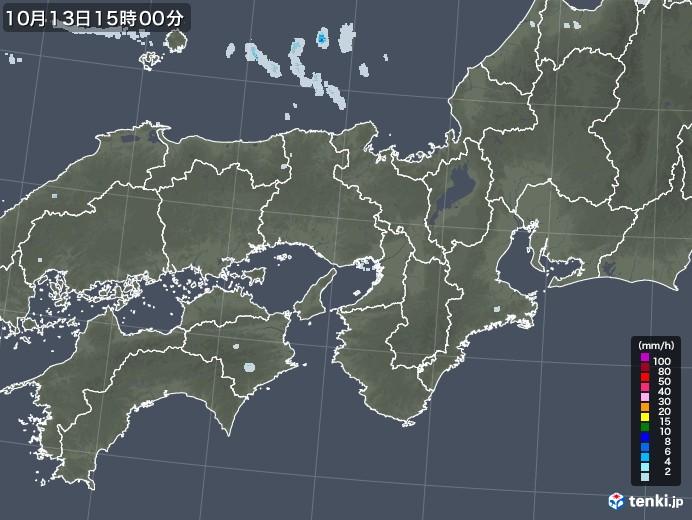 近畿地方の雨雲レーダー(2020年10月13日)