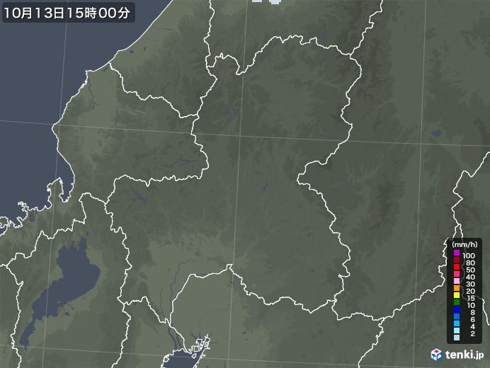 岐阜県の雨雲レーダー(2020年10月13日)