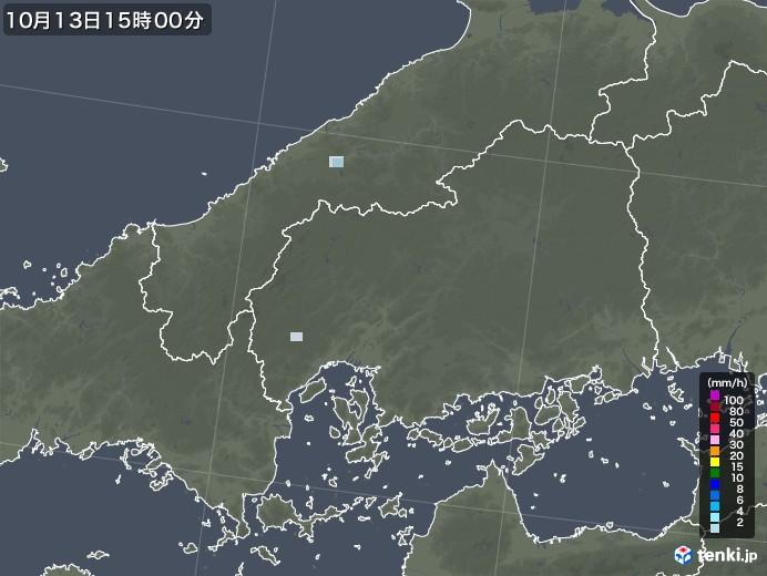 広島県の雨雲レーダー(2020年10月13日)