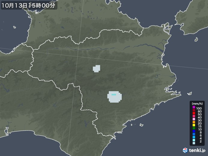 徳島県の雨雲レーダー(2020年10月13日)