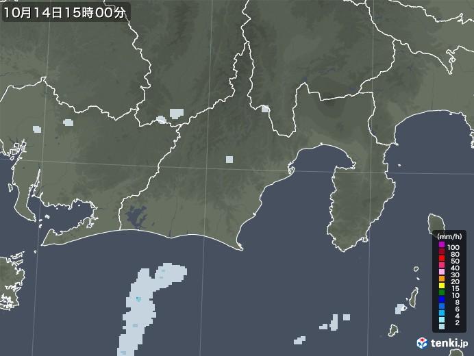 静岡県の雨雲レーダー(2020年10月14日)