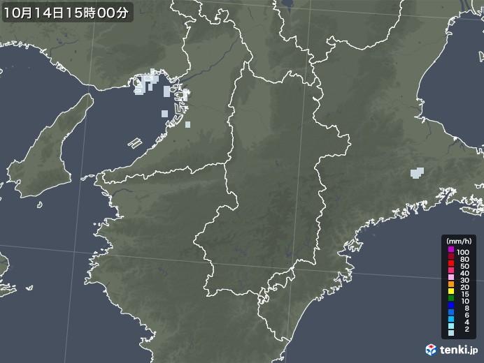 奈良県の雨雲レーダー(2020年10月14日)