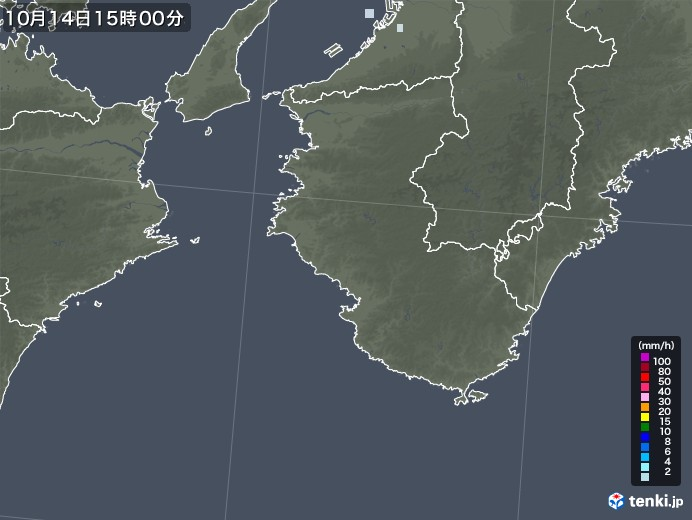和歌山県の雨雲レーダー(2020年10月14日)