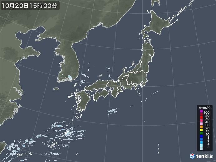 雨雲レーダー(2020年10月20日)