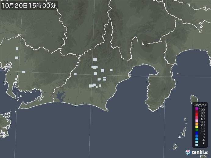 静岡県の雨雲レーダー(2020年10月20日)