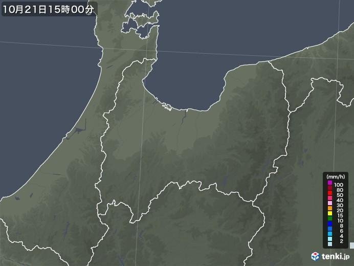 富山県の雨雲レーダー(2020年10月21日)