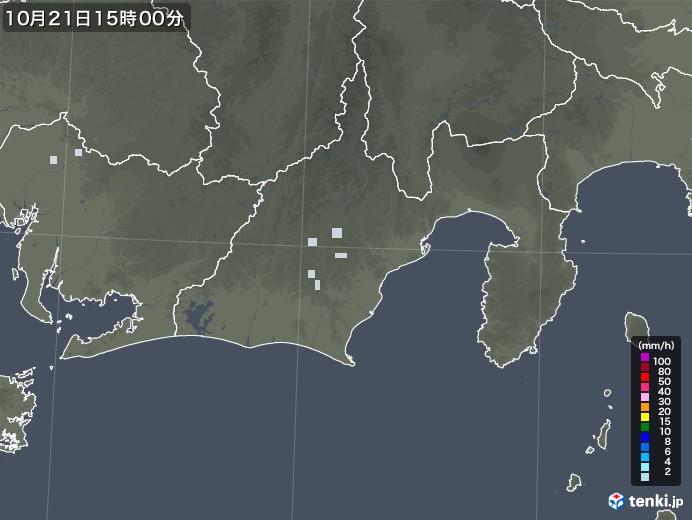 静岡県の雨雲レーダー(2020年10月21日)