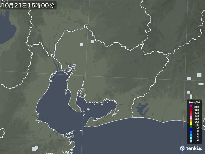 愛知県の雨雲レーダー(2020年10月21日)