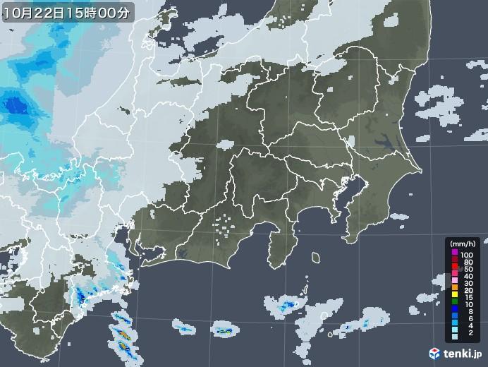 関東・甲信地方の雨雲レーダー(2020年10月22日)