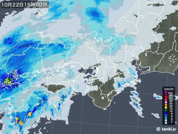 近畿地方の雨雲レーダー(2020年10月22日)