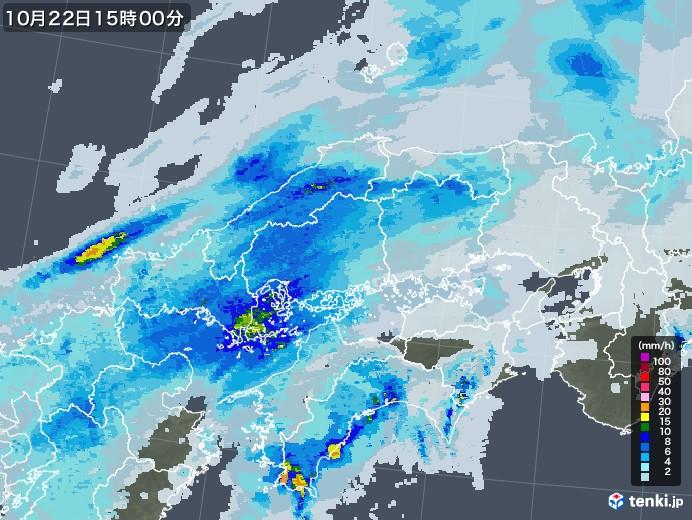 中国地方の雨雲レーダー(2020年10月22日)