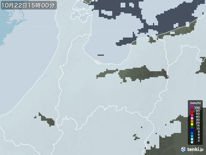 富山県の雨雲レーダー(2020年10月22日)
