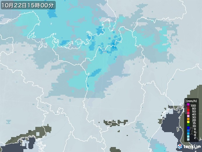 滋賀県の雨雲レーダー(2020年10月22日)