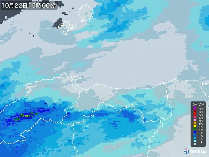 鳥取県の雨雲レーダー(2020年10月22日)