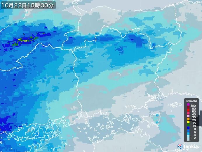 岡山県の雨雲レーダー(2020年10月22日)