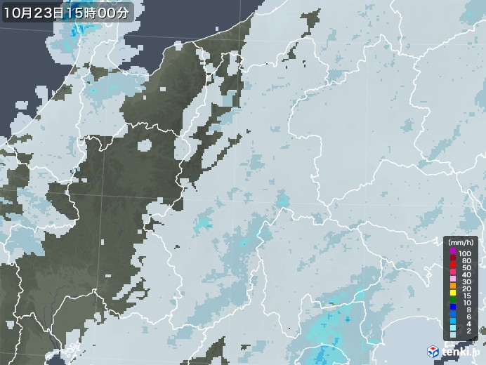 長野県の雨雲レーダー(2020年10月23日)