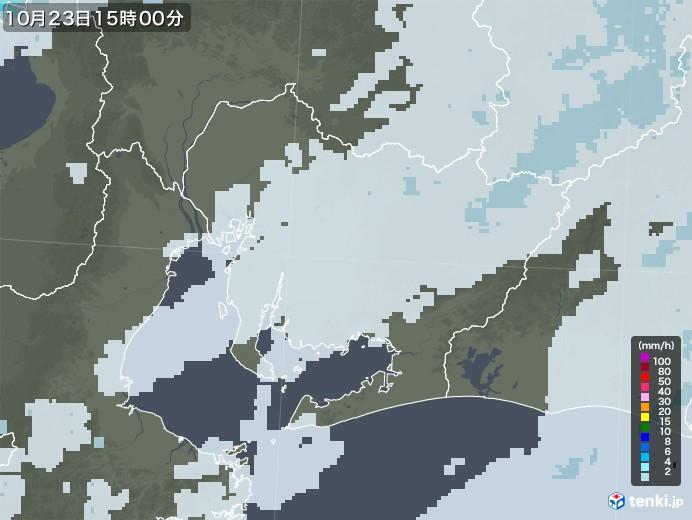 愛知県の雨雲レーダー(2020年10月23日)