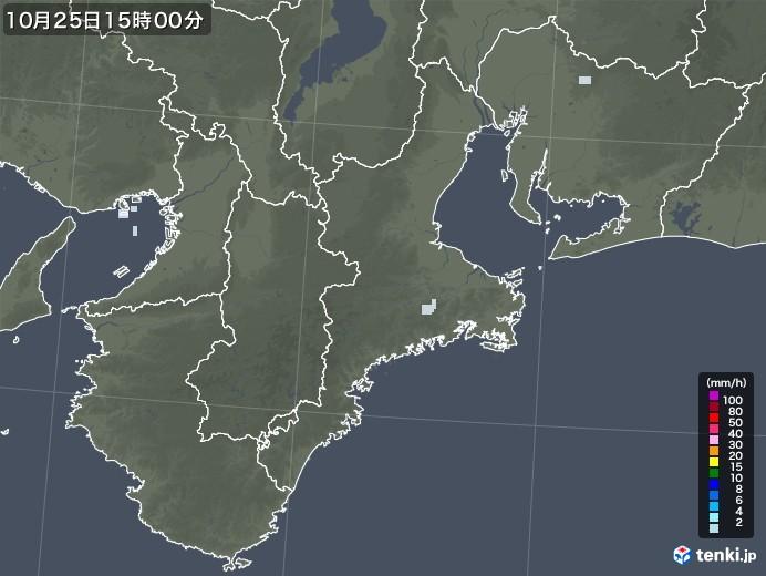 三重県の雨雲レーダー(2020年10月25日)