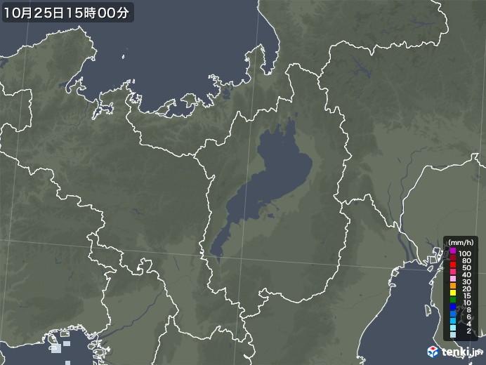 滋賀県の雨雲レーダー(2020年10月25日)