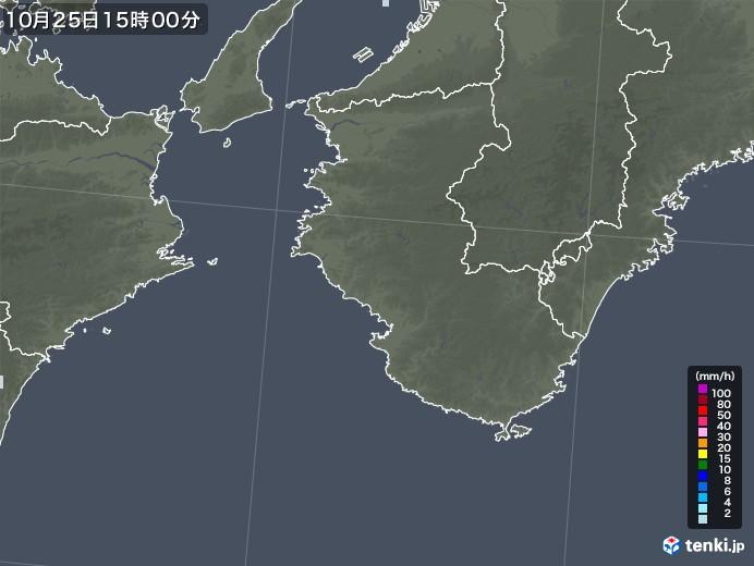 和歌山県の雨雲レーダー(2020年10月25日)