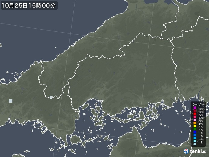 広島県の雨雲レーダー(2020年10月25日)