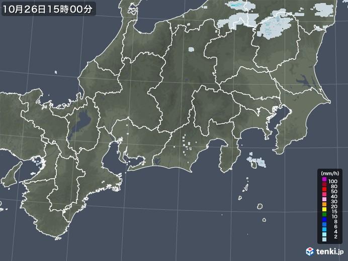 東海地方の雨雲レーダー(2020年10月26日)