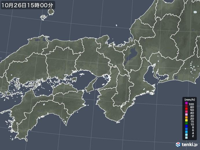 近畿地方の雨雲レーダー(2020年10月26日)