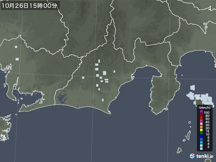 静岡県の雨雲レーダー(2020年10月26日)