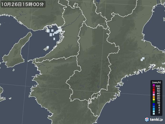 奈良県の雨雲レーダー(2020年10月26日)