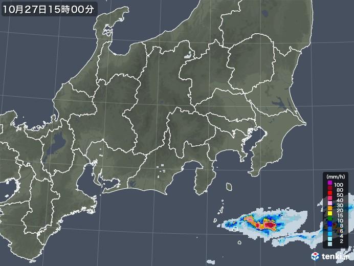 関東・甲信地方の雨雲レーダー(2020年10月27日)