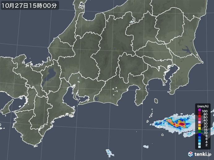 東海地方の雨雲レーダー(2020年10月27日)