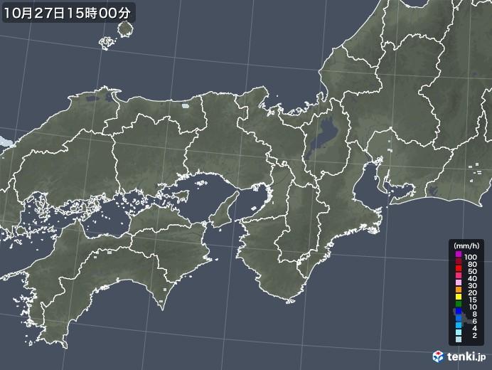 近畿地方の雨雲レーダー(2020年10月27日)