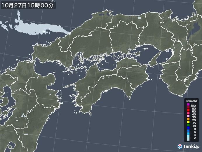 四国地方の雨雲レーダー(2020年10月27日)