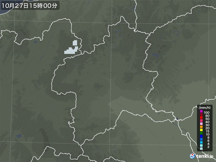 群馬県の雨雲レーダー(2020年10月27日)