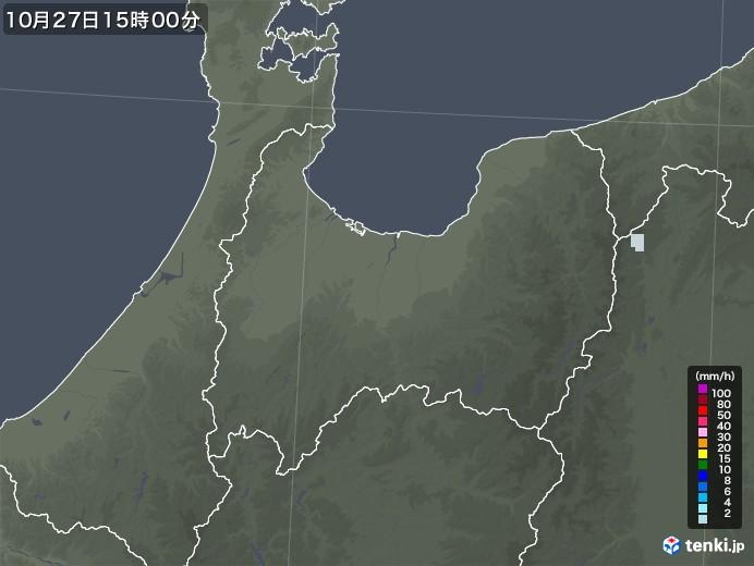 富山県の雨雲レーダー(2020年10月27日)