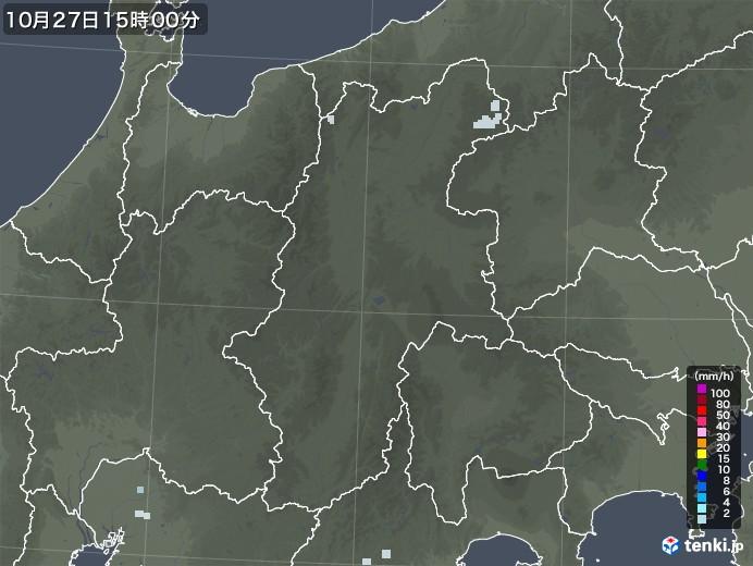 長野県の雨雲レーダー(2020年10月27日)