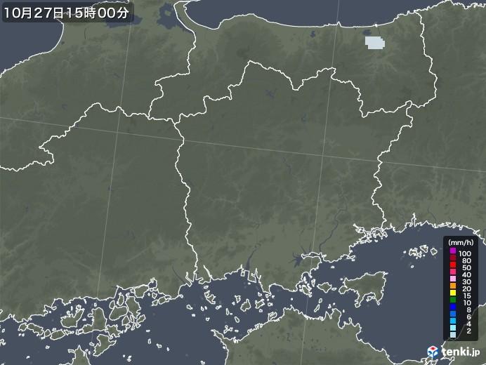 岡山県の雨雲レーダー(2020年10月27日)