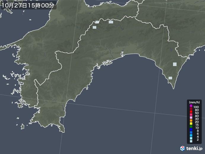 高知県の雨雲レーダー(2020年10月27日)
