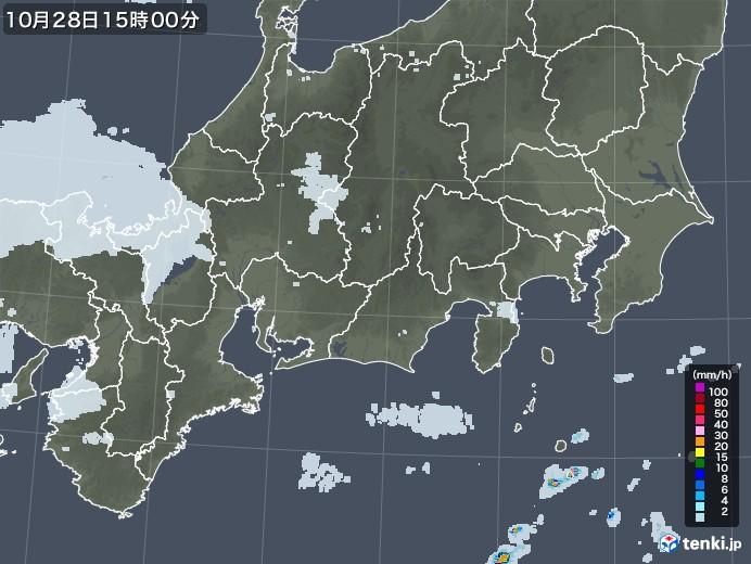 東海地方の雨雲レーダー(2020年10月28日)