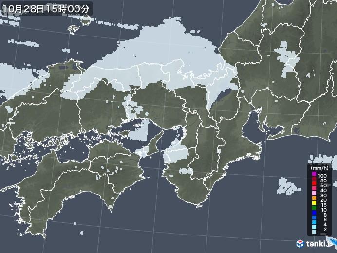 近畿地方の雨雲レーダー(2020年10月28日)