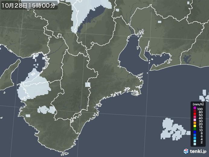 三重県の雨雲レーダー(2020年10月28日)