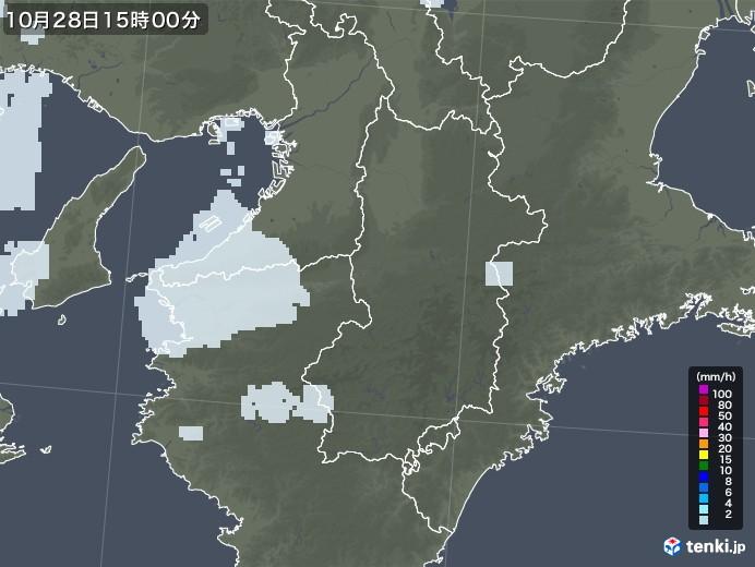 奈良県の雨雲レーダー(2020年10月28日)