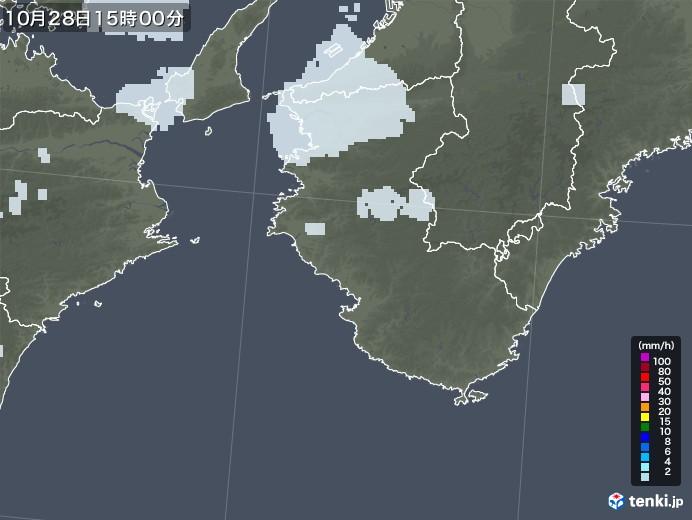 和歌山県の雨雲レーダー(2020年10月28日)