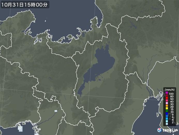 滋賀県の雨雲レーダー(2020年10月31日)