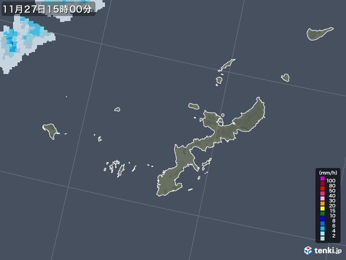 沖縄県の雨雲レーダー(2020年11月27日)