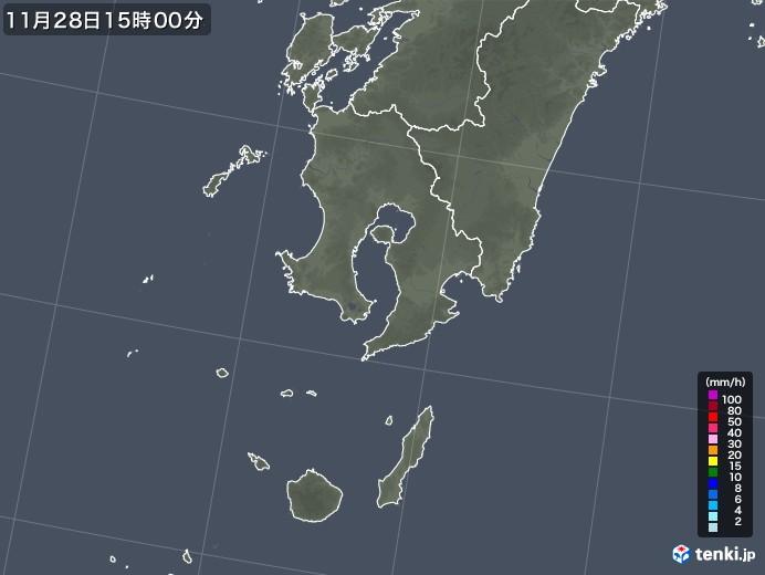 鹿児島県の雨雲レーダー(2020年11月28日)