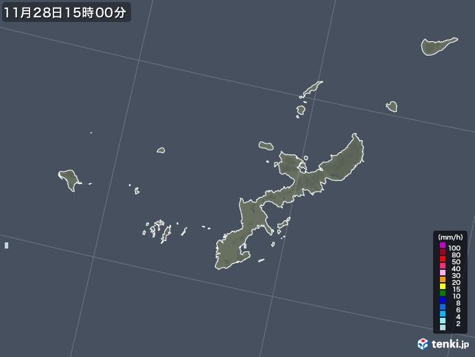 沖縄県の雨雲レーダー(2020年11月28日)